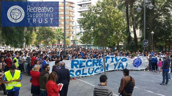 Imagen de archivo de una marcha del Recreativo Supporters Trust.