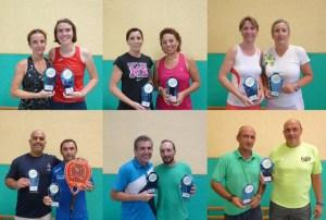 Campeones del torneo provincial de pádel de veteranos en Ayamonte.