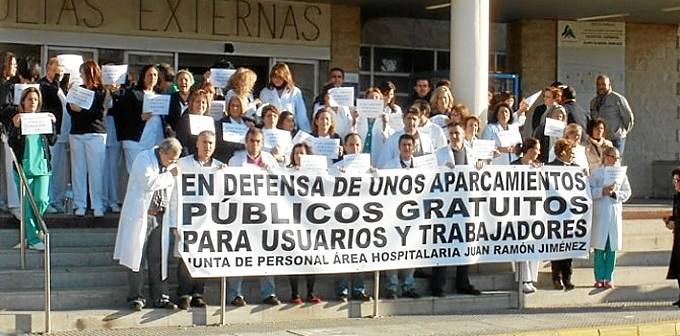 protesta contra privatizacion parking juan ramon jimenez