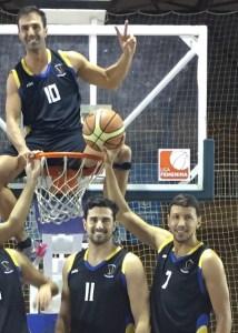 Julián Horacio López, Fulgencio Casanova y Antonio Martínez, jugadores del CDB Enrique Benítez.