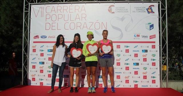 Lidia Rodríguez, en el podium de la Carrera del Corazón.
