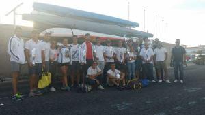 Integrantes de piragüismo del Real Club Marítimo de Huelva.