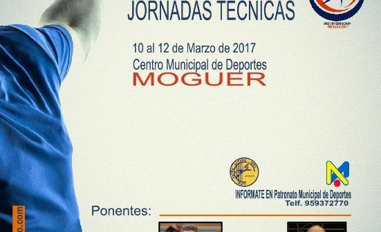 Cartel de las Jornadas Técnicas de balonmano en Moguer.