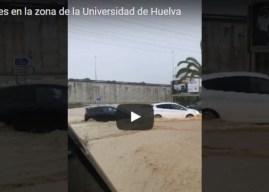 Vídeo de la tromba de agua junto a la Universidad de Huelva
