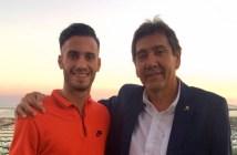 Carlos Lazo con el presidente del Recreativo de Huelva