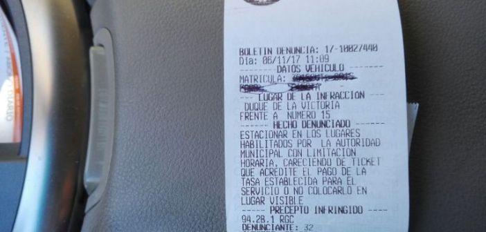 Multa en zona ORA de Huelva