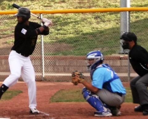 Trigger Edmond Cheatham at bat against the Garden City Wind.  Photo courtesy the Pecos League.