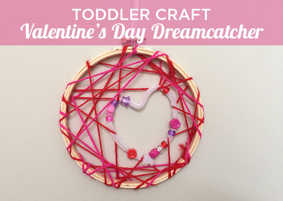 Toddler Craft Valentine's Day Dreamcatcher from Hugs are Fun