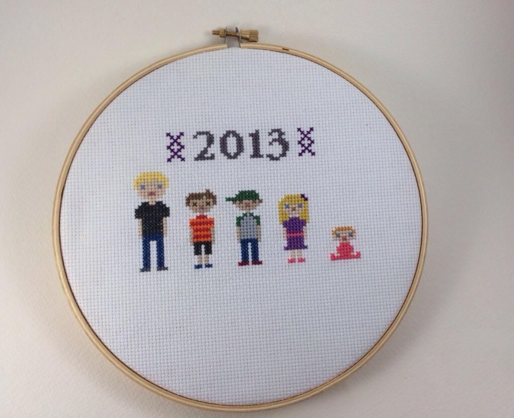 Pixel Grandkid Cross Stitch by Hugs are Fun