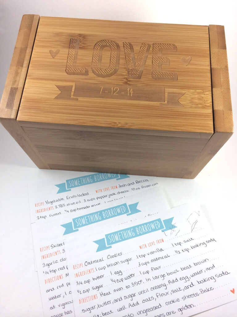 Laser Cut Recipe Box and Matching Embroidery from Hugs are Fun