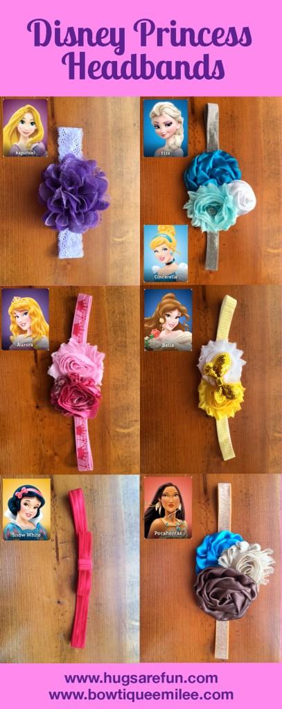 Disney Princess Headbands - Rapunzel, Elsa, Cinderella, Sleeping Beauty, Belle, Snow White, and Pocahontas from Hugs are Fun