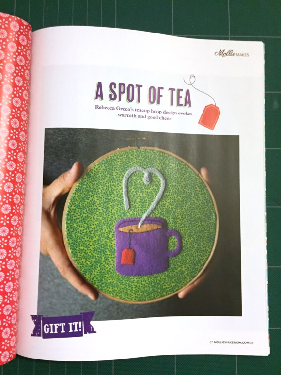A Felt Tea Cup in Mollie Makes! by Hugs are Fun