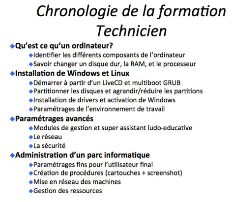 Screenshot du powerpoint de formation des Techniciens