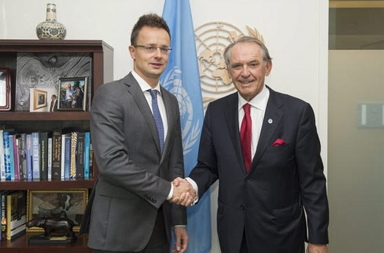 Péter Szijjártó with Deputy-General Secretary Jan Eliasson / MTI/UN/Eskinder Debebe