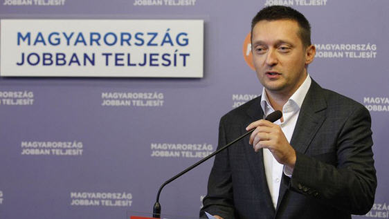 Antal Rogán, Hungary's new propaganda minister. In the background: Hungary performs better