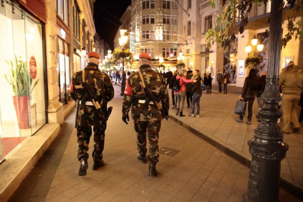 Heavily armed Hungarian soldiers patrolling the streets of Budapest