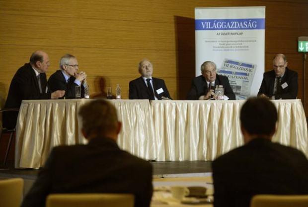 From left to right: Mihály Kupa, Péter Ákos Bod, István Csillag, and Attila Chickán