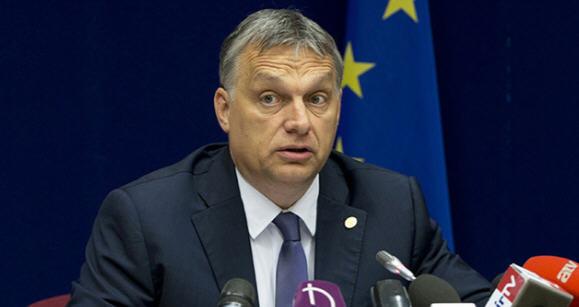 Viktor Orbán at his press conference / AP Photo