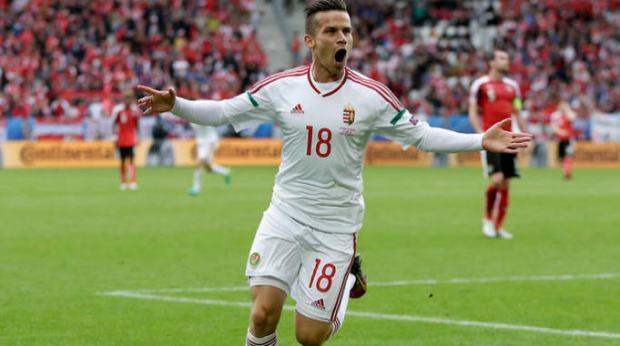 Zoltán Stieber celebrating his goal at the game against Austria