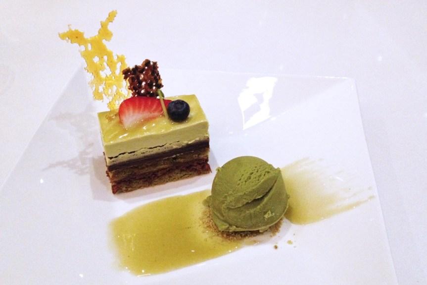 Green Tea Opera Cake with matcha ice cream.