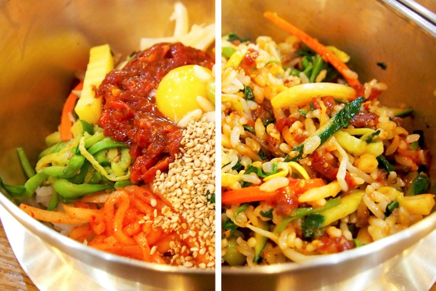 Raw beef bibimbap before and after being mixed.