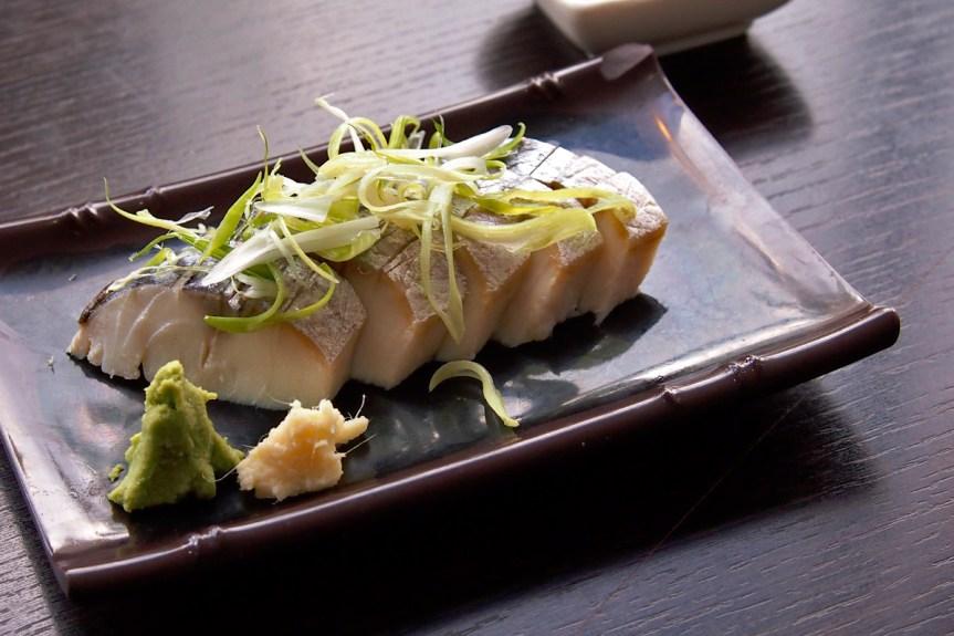 Shime saba, salt and rice wine vinegar cured mackerel.