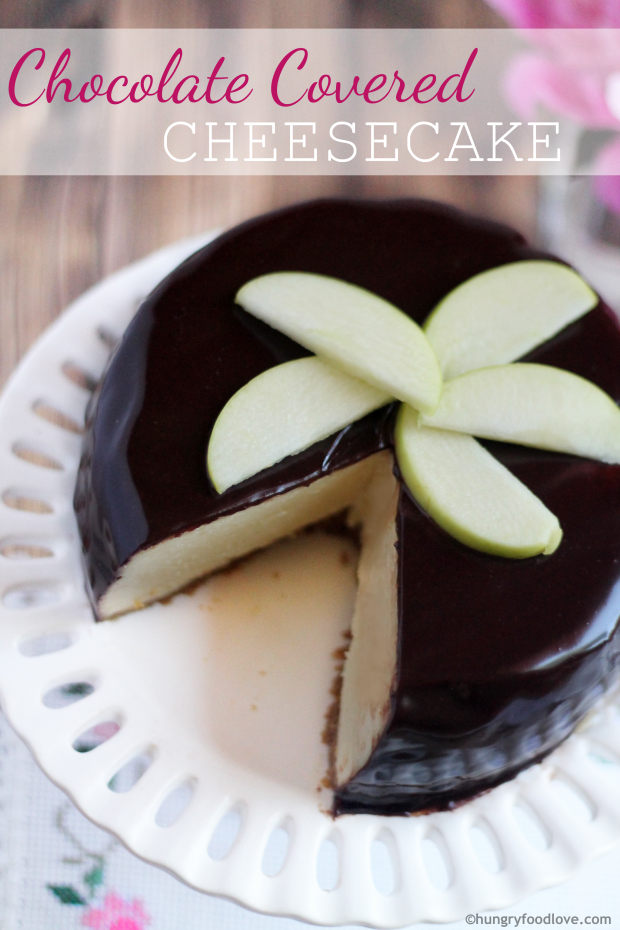 Chocolate Covered Cheesecake - Deliciously easy chocolate ganache!