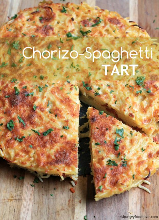 Chorizo-Spaghetti Tart    | hungryfoodlove.com