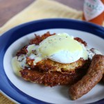 Spicy Hollandaise Sauce over Yuca Cakes and Poached Eggs   |   @hungryfoodlove