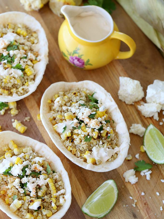 Mexican Street Corn Quinoa Taco Boats | @hungryfoodlove