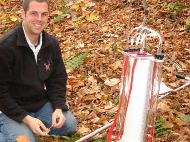 Joel with bore-hole permeameter.