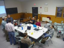 Hubbard Brook Hydropedology team at a rainy day meeting.