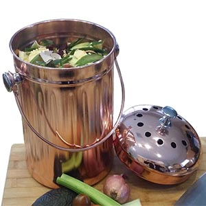 #5 Kitchen Compost Pail, Stainless Steel With Copper Plating