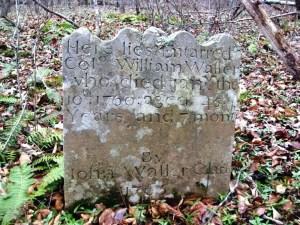 Grave marker of William Waller, 1716-1760
