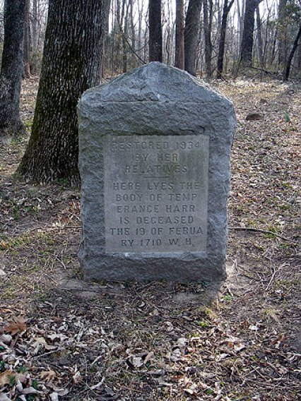 Grave of Temperance Overton Harris - west side of granite restoration stone (15 Mar 2007, photo credit: Gary Violette)