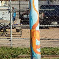 Octopus painted pole, perfect for the Ozarks.