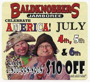 A 1993 advertisement for the Baldknobbers. It's hillbilly comedy, but they don't use the word  (click to enlarge)