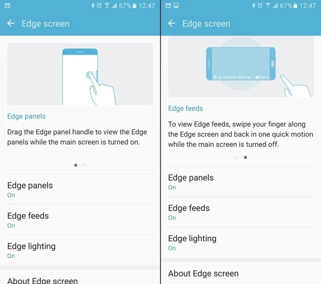 Enable or disable edge panels on the S7 edge