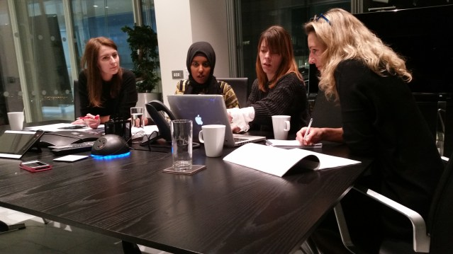 The team at work: Ilze, Zahra, Nataly and Juliana in a brainstorm session