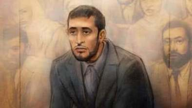 Saad Gaya, shown in a sketch, pleaded guilty to belonging to a terrorist group. The Toronto 18 member was granted day parole this week.