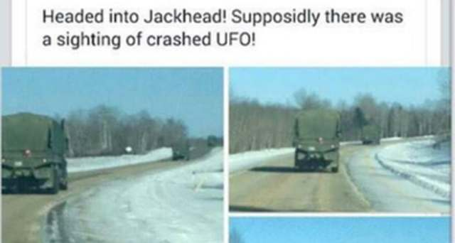 Posts like these were circulating on Twitter and Facebook on Wednesday night, with people suggesting there was a UFO crash near Jackhead, Man. It was actually an airplane being used in a military training exercise, according to the Canadian Forces.