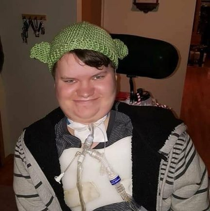Within nine days from getting a cold Hayden (pictured) was paralyzed. Now four years on he can speak and move his right arm slightly but that is all and he is considered a quadriplegic