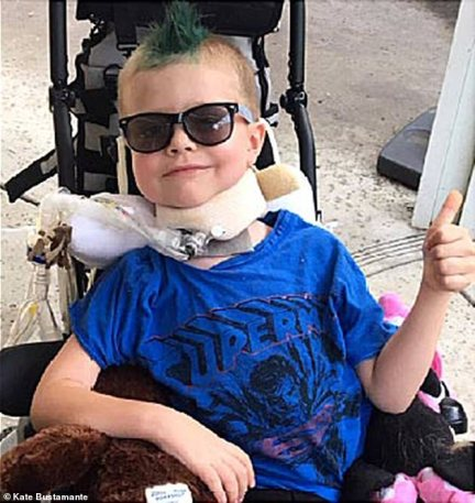 'I think the PICU doctors were very puzzled and really had no idea what to do other than treat the symptoms. There was an intelligent, well rounded team of doctors, but there just wasn't any information available. They were searching on the internet for answers,' Alex's mom Katie said. Alex is pictured above