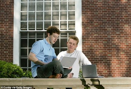 Harvard roommates Zuckerberg (left) and Hughes are seen in 2004 at Harvard's Eliot House. Facebook was created in February 2004, three months prior to this photograph
