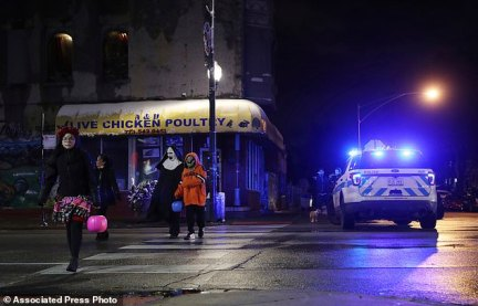 The shooting occurred early Halloween evening as the girl was walking with her family and other trick-or-treaters