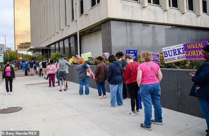INDIANA: Indianapolis residents wait in line for upwards of two hours to cast ballots at the City Council building on October 10