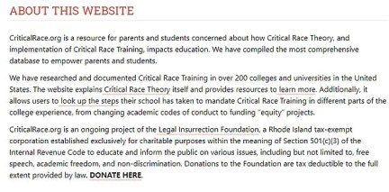 """The website itself describes itself as 'a resource for parents and students who no longer can assume they will be left alone … the entire ideology of CRT and """"anti-racist"""" training is that """"silence is violence""""'. It so far lists 220 universities with plans to expand"""