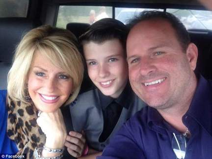 The mother-of-one immediately underwent chemotherapy and radiation therapy and was told she was in remission when the cancer returned. Pictured: Rhonda with her husband and son