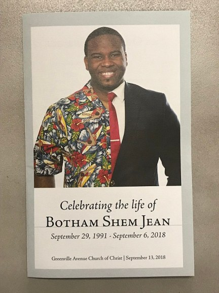The funeral for Botham Jean was held today at the Greenville Avenue Church of Christ.Officials believe Guyger was confronted by Jean, who pulled her gun on him and fired - but the explanation for her entering his apartment is fill of holes