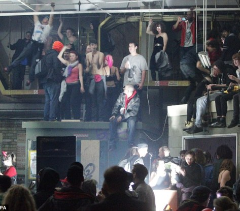 Nick or treat: Seven Halloween revellers were arrested during violent clashes with police at a suspected illegal rave in central Norwalk